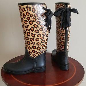Coach cheetah print rain boots